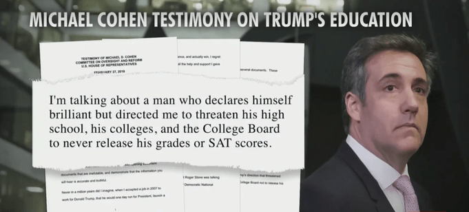 Michael Cohen: Trump Made Me Threaten His High School And College To Hide His Grades