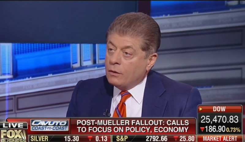 'There Is Something There': Judge Napolitano Warns Fox Viewers Mueller Report Will Show Conspiracy