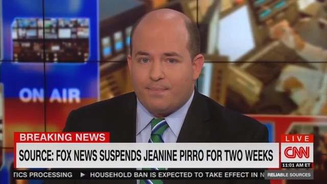 CNN's Brian Stelter Reports Fox News Has Suspended Jeanine Pirro Amid Backlash