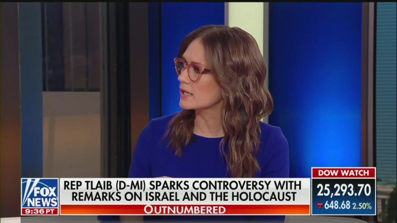 Fox News' Jessica Tarlov: 'It's Republicans' Fault for Twisting' Rashida Tlaib's Holocaust Comments