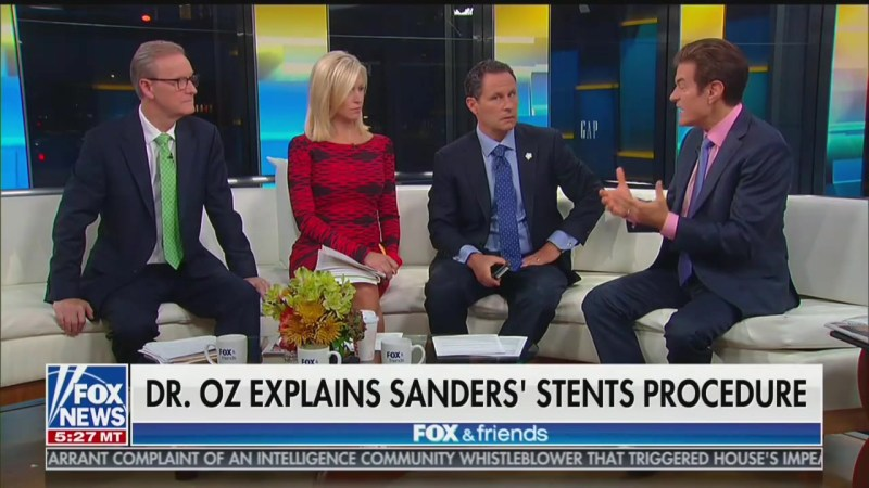 Watch: 'Fox & Friends' Fail to Get Dr. Oz to Say Something Bad About Bernie Sanders' Health