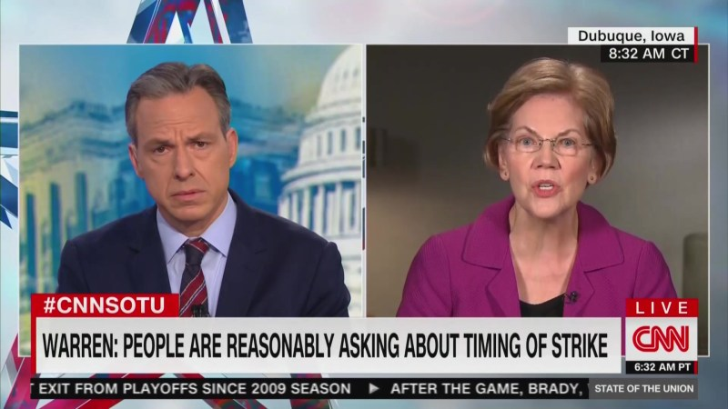 Elizabeth Warren: 'Reasonable Question to Ask' if Iran Attack a Distraction From Impeachment