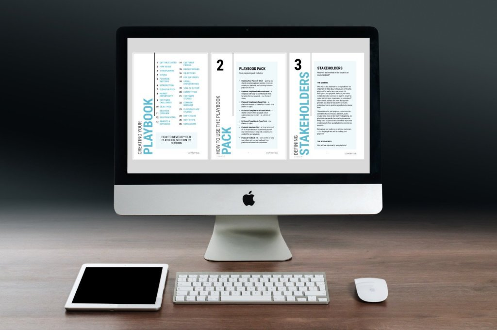 SALES PLAYBOOK template on screen