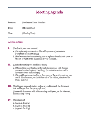 Free meeting agenda template from Office - Free sales templates