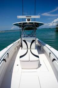 Shot from bow Simrad electronics bentleey sticching aluminum handrail Contender Boats ST  interior