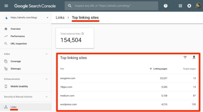 External Links - Google Search Console