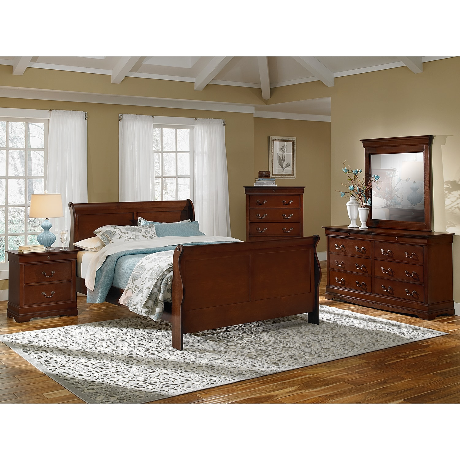 neo classic 7-piece queen bedroom set - cherry | american