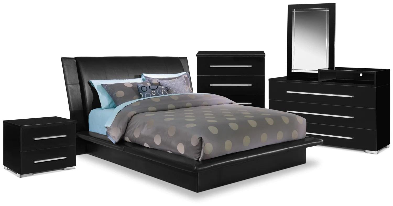 dimora 7-piece queen upholstered bedroom set with media dresser