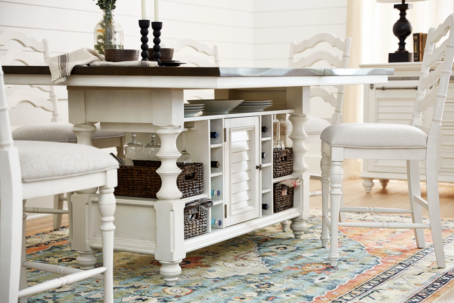 Charleston Counter Height Kitchen Island And 6 Stools