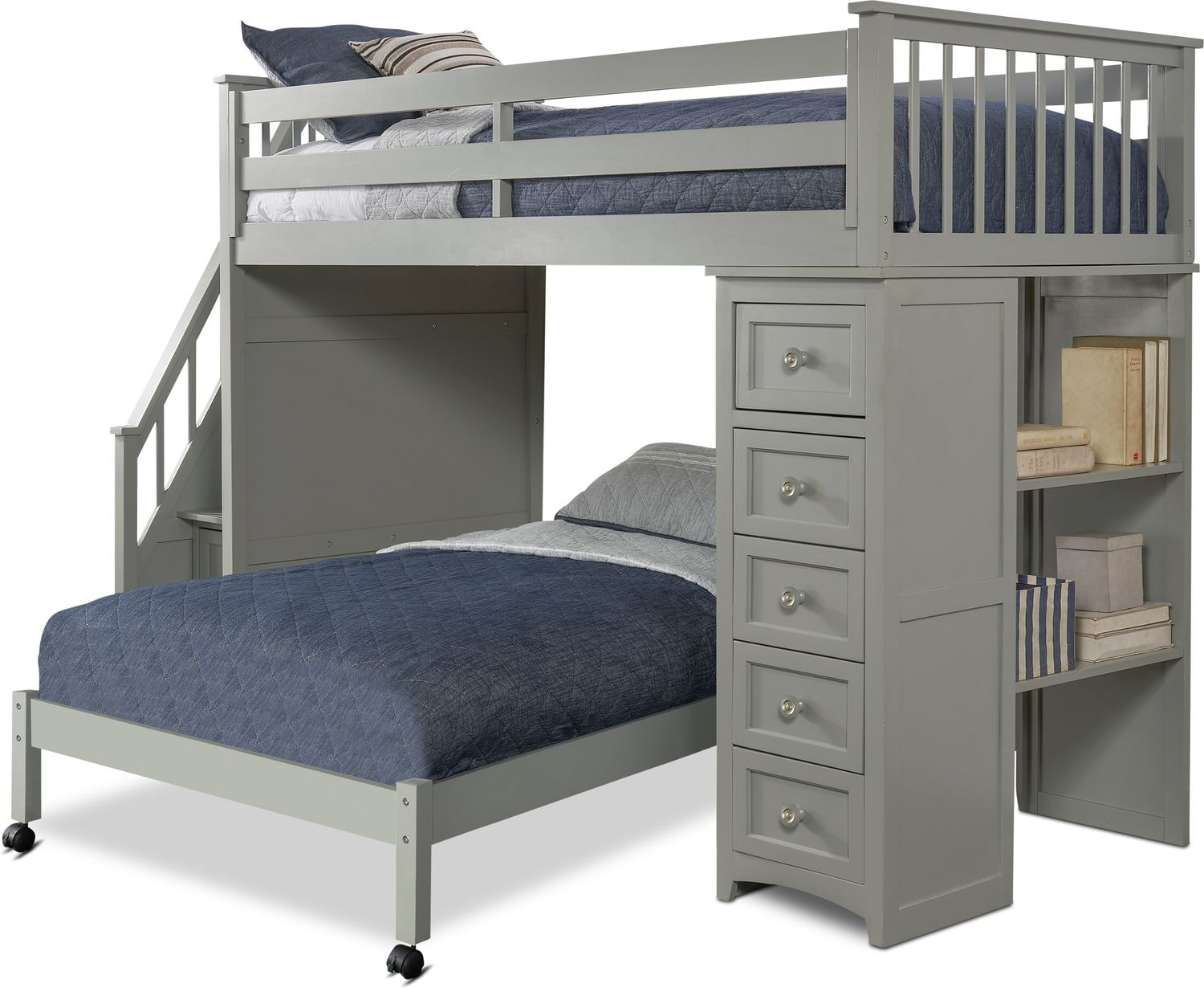 Full Loft Bed With Stairs And Storage Novocom Top