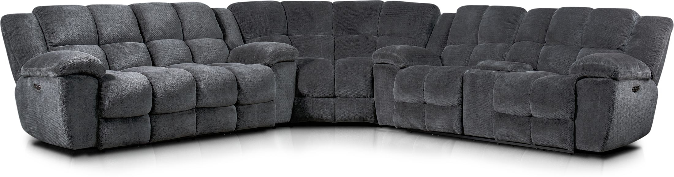 mellow 3 piece dual power reclining sectional with 4 reclining seats gray