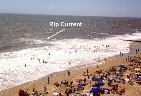 rip current riptide shown on crowded beach