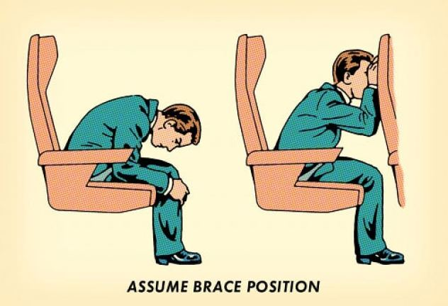 man assuming brace position in airplane seat illustration