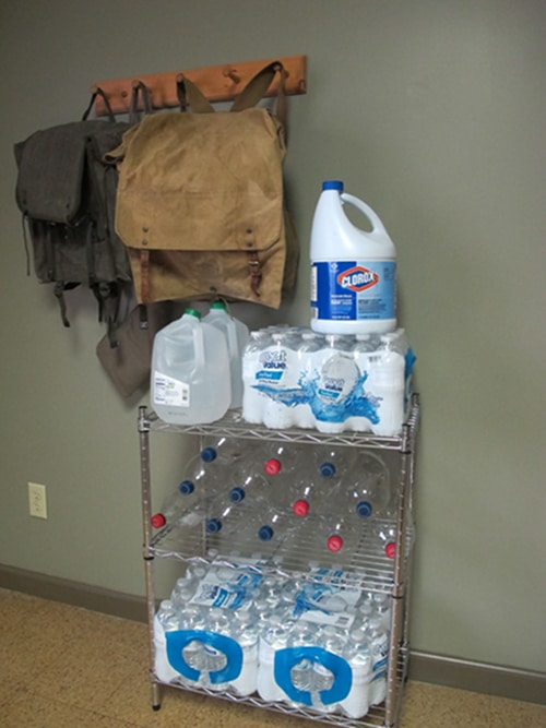 Storing bottled water for an emergency supply