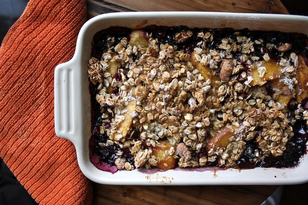 booze - Blueberry Peach Bourbon Granola Crisp