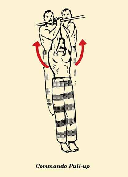 illustration commando pull-up, prisoner workout, bodyweight exercises, convict conditioning