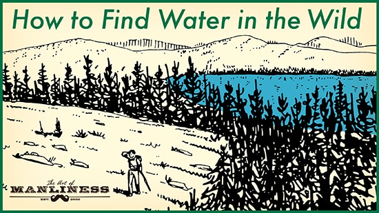 man in woods looking for water illustration