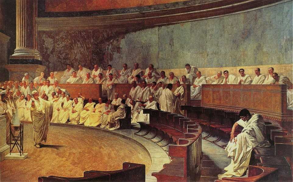 Cicero delivering his speech against Cataline.