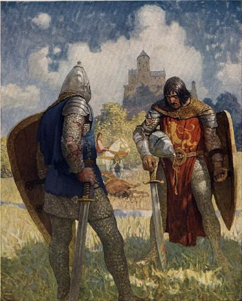 knights in field about to fight with swords painting