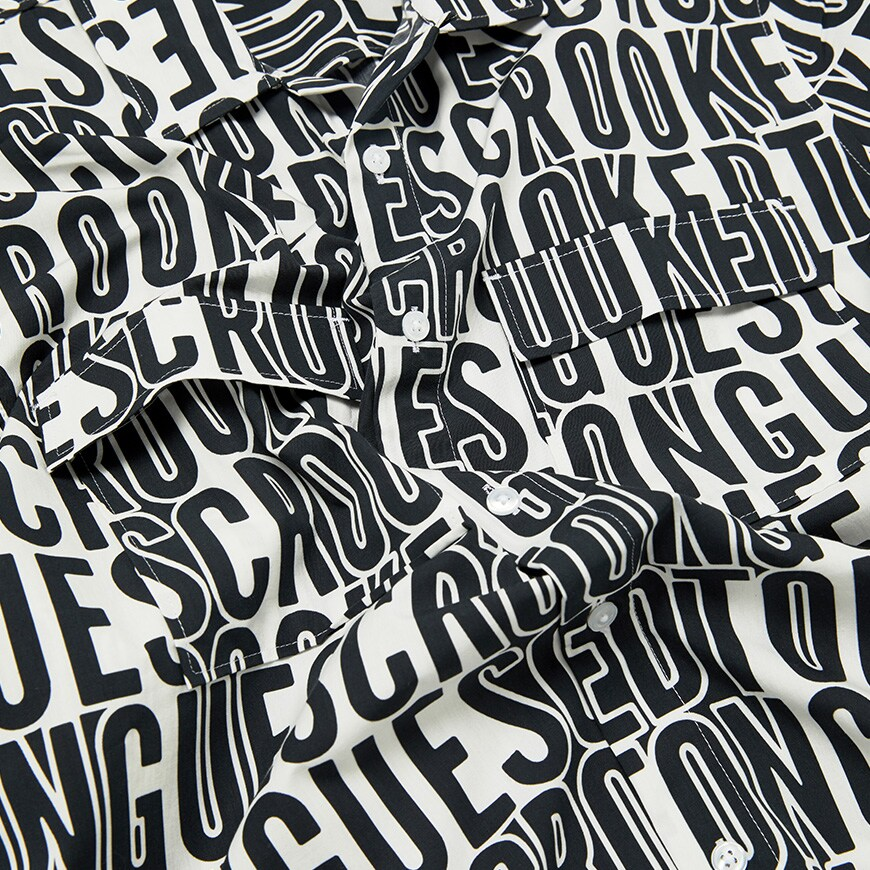 A picture of an all-over print shirt by Crooked Tongues. Available at ASOS.