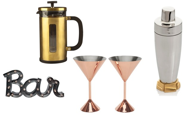 From top left: La Cafetiere Brushed Gold Cafetiere, Miafleur; Michael Aram Rock Cocktail Shaker and set of two Tom Dixon Plum Copper Martini Glasses, Amara; Metal 'Bar' Light Up Sign, Festive Lights