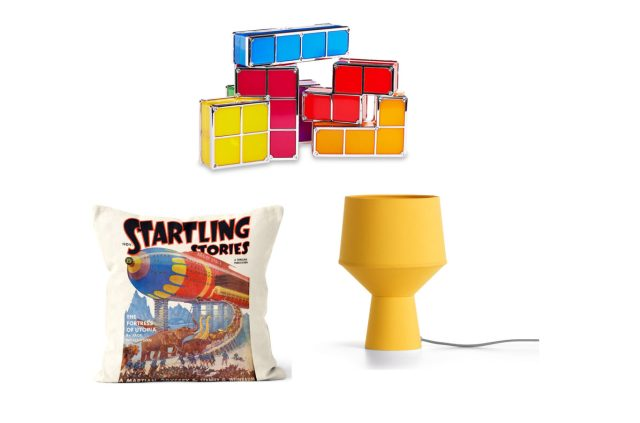 Tetris Light, George Home; Tuli Table Lamp, Made; Startling Stories of the Stars Pulp Fiction Cushion, We Love Cushions