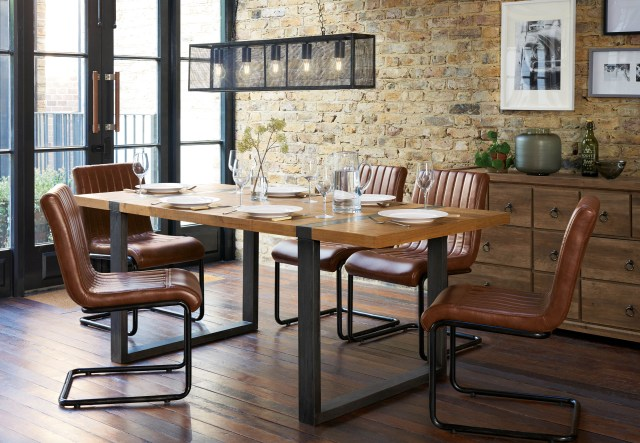 Next's Hudson Dining Table; Bernie Dining Chairs and Mesh 5 Light Linear Pendant (Next/PA)