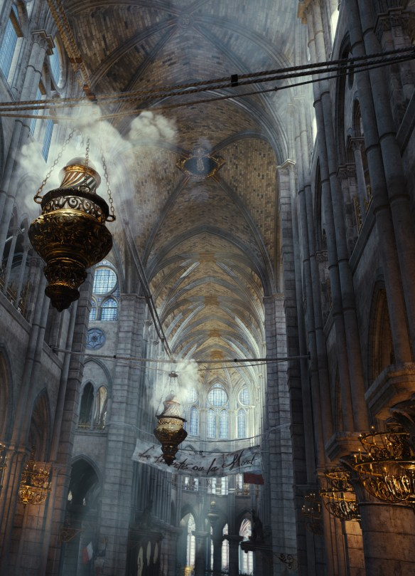 The interior of Notre-Dame Cathedral in Assassin's Creed Unity