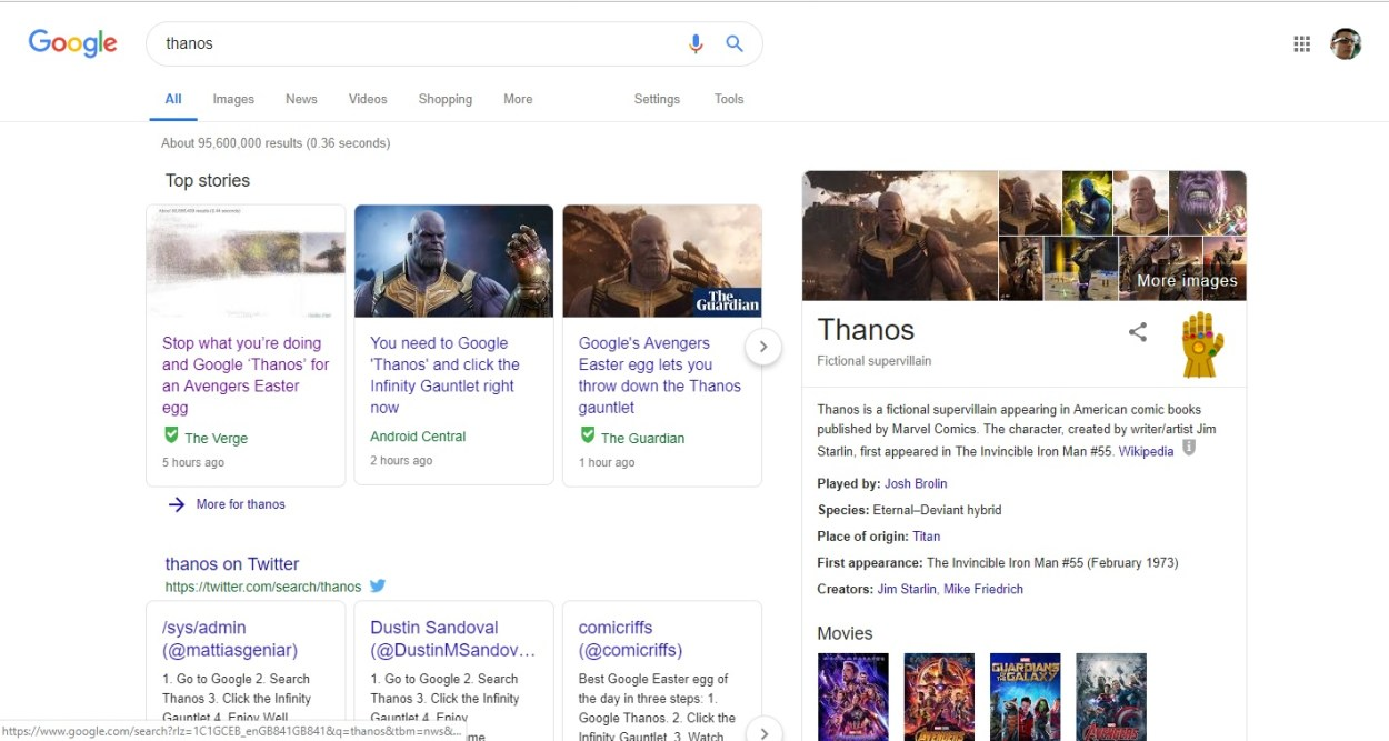 The Thanos search results page