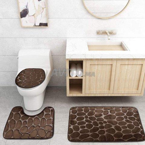 tapis pour salle de bain et wc 3 pieces marron