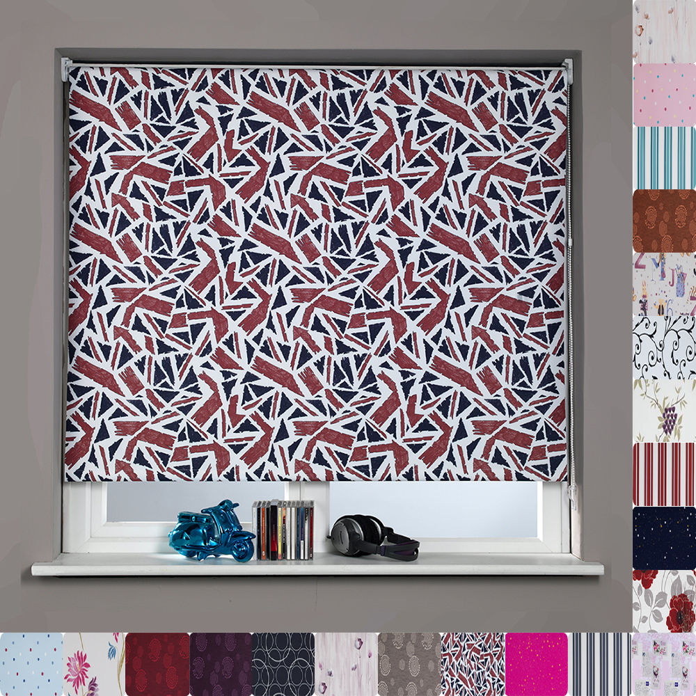 PATTERNED BLACKOUT ROLLER BLINDS MANY SIZES Amp PATTERNS TRIMMABLE THERMAL EBay