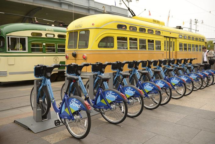 Ford's Motivate / GoBike bicycles at a Bay Area rail commuting hub