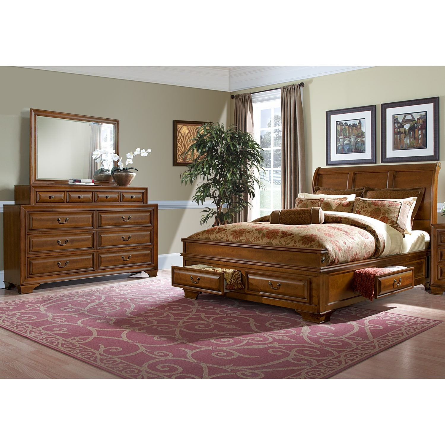The herringbone pattern on the headboard, dresser, chest and nightstand creates a striking feature will stand out in your bedroom. Sanibelle 5-Piece Queen Storage Bedroom Set - Pine | Value ...