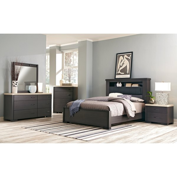 Camino 7-Piece Queen Bedroom Set - Charcoal and Ivory ...