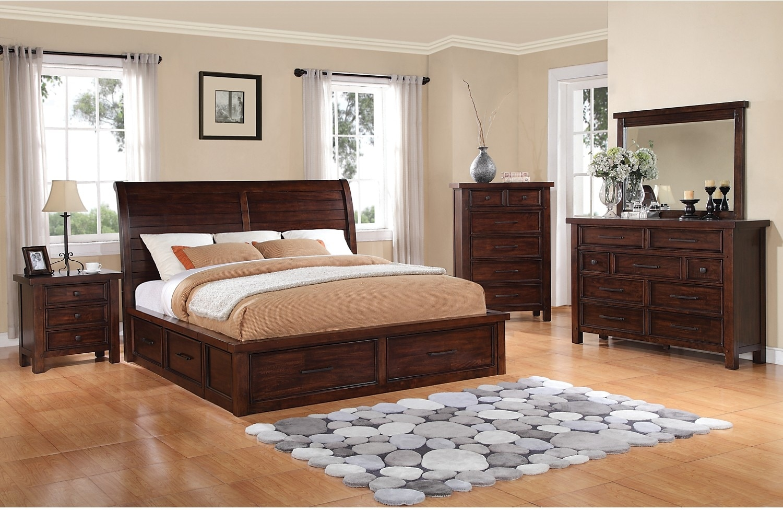 Sonoma 8 Piece King Storage Bedroom Set Dark Brown The
