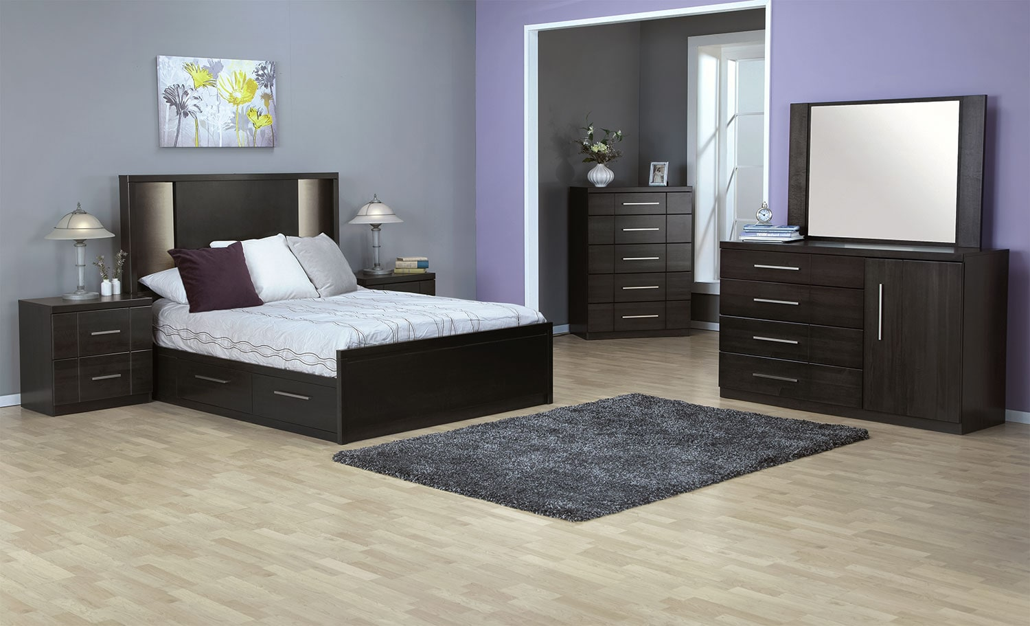 Seville Queen Storage Bed Charcoal Leons