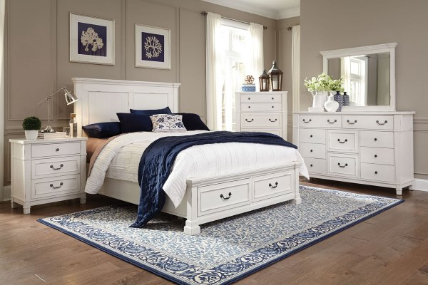 Taryn 4-Piece Queen Storage Bedroom Set - Antique White ...