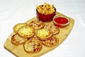 bite-sized pizza, fries, and dipping sauce