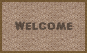 a new welcome mat in front of a door