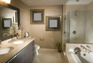 bathroom that is clean and clutter-free