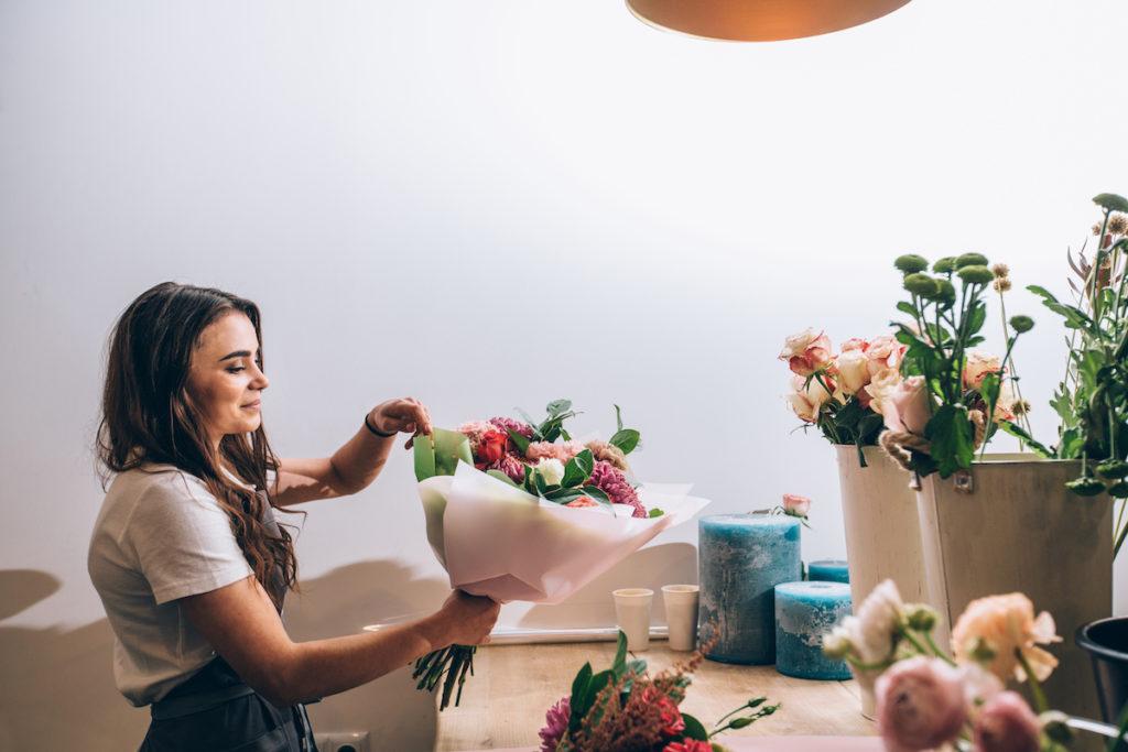 Florist preparing a bouquet