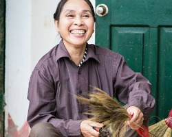 woman weaving baskets