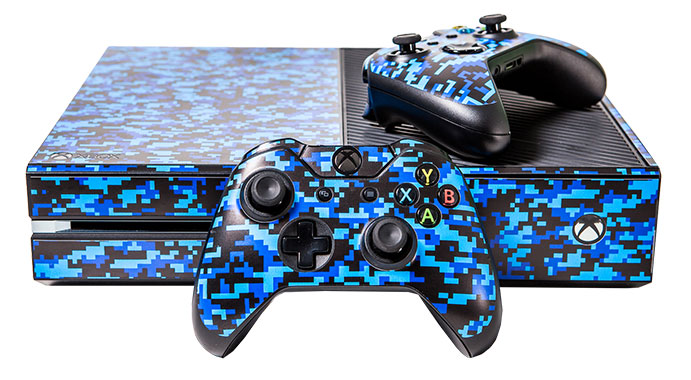 Xbox One Console Decals Digital Blue Camouflage EB