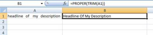 Using PROPER and TRIM function in Excel
