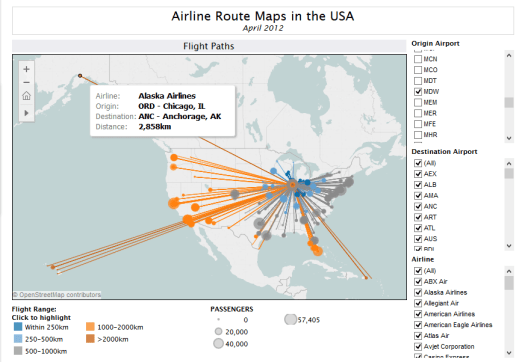 network diagram  of airline route maps in USA