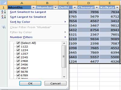 Table formatting in excel