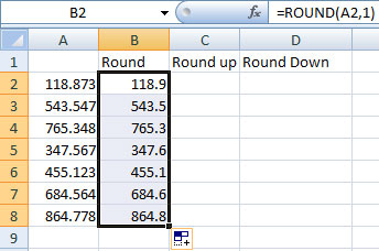 using fill handle in Excel's round function