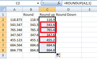 difference between round and round up function