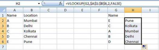 Using auto fill handle in VLOOKUP