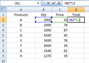 Relative cell reference in Excel